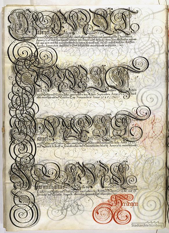 Das Große Tucherbuch: Eintrag zu Leonhard II. Tucher, Magdalena Stromer und Katharina Nützel und ihren Kindern. Pergamenthandschrift um 1590 (Stadtarchiv Nürnberg E 29/III Nr. 258, fol. 120v).