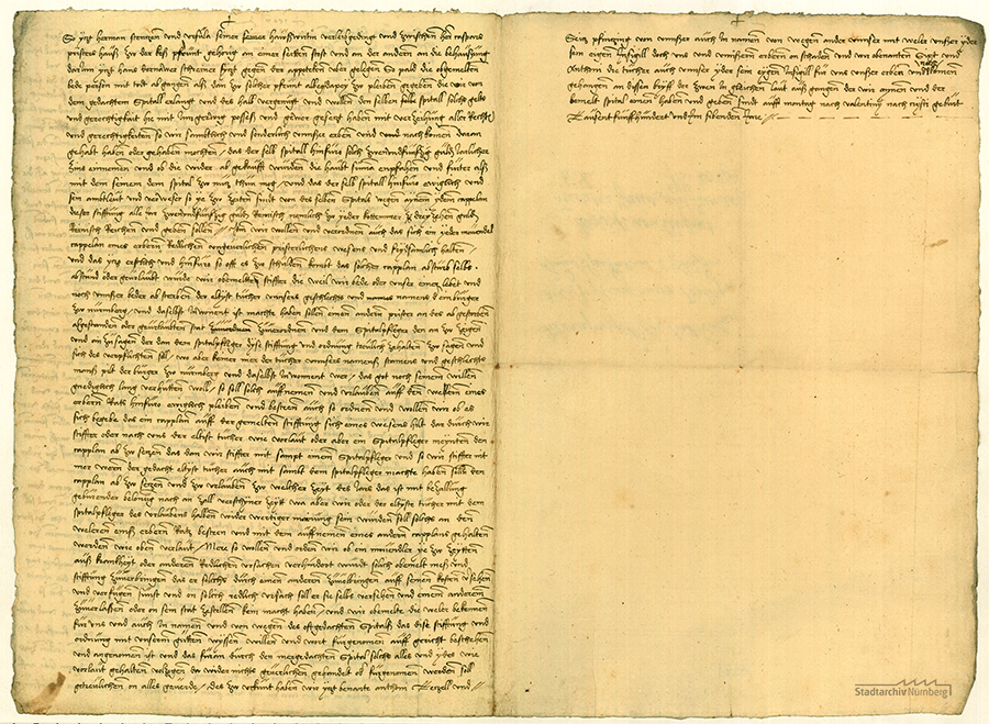 Sixtus Tucher, beider Rechte Doktor (1459-1507) und sein Bruder Anton II. (1457-1524) stiften einen Kaplan und eine Movendelmesse zur geistlichen Betreuung der Kranken und Siechen im Heilig-Geist-Spital. Zur Dotierung dieser Stiftung bestimmen sie einen jährlichen Zins von 52 Gulden aus in der Nürnberger Losungstube angelegten Geldern. Als Wohnung für den Kaplan wird ein Haus, gegenüber der Spitalapotheke gelegen, gestiftet (Spitalgasse 15), Abschrift von der Hand Linhart II. Tucher, 15. Februar 1507, 2 Bl. Papier (Stadtarchiv Nürnberg E 29/II Nr. 1561).
