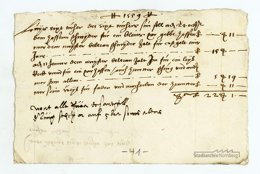 Rechnung über die Ausgaben für Luis Sixt Tucher, 1559. (Stadtarchiv Nürnberg E 29/IV Nr. 223).