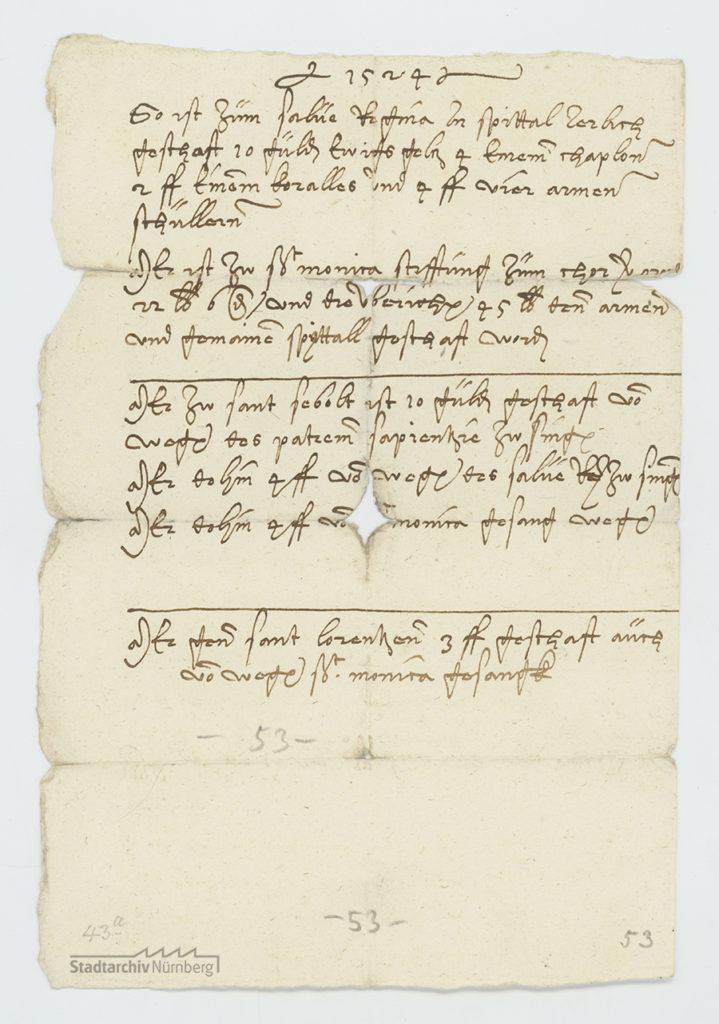 Notizzettel Linhart Tuchers in Nürnberg über diverse Geldstiftungen für das Heilig-Geist-Spital und die Pfarrkirchen St. Sebald und St. Lorenz, 1524 (Stadtarchiv Nürnberg E 29/IV Nr. 373).