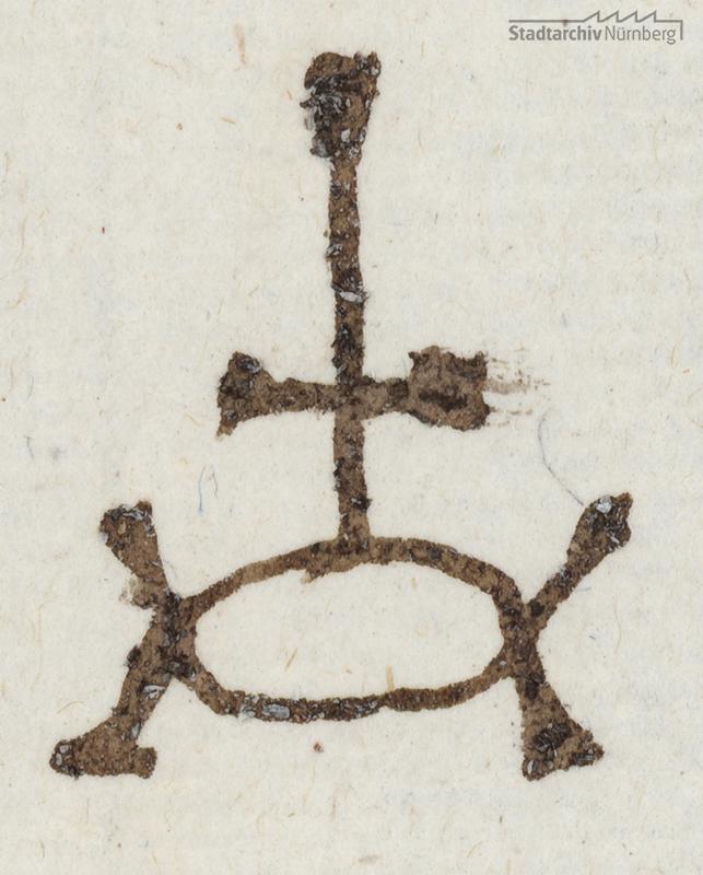 Handelszeichen der Tucherschen Handelsgesellschaft, überliefert in einem Brief des Brief des Paulus Tucher aus Wittenberg an seinen Vater Linhart in Nürnberg vom 5. August 1545 (Stadtarchiv Nürnberg E 29/IV Nr. 495).