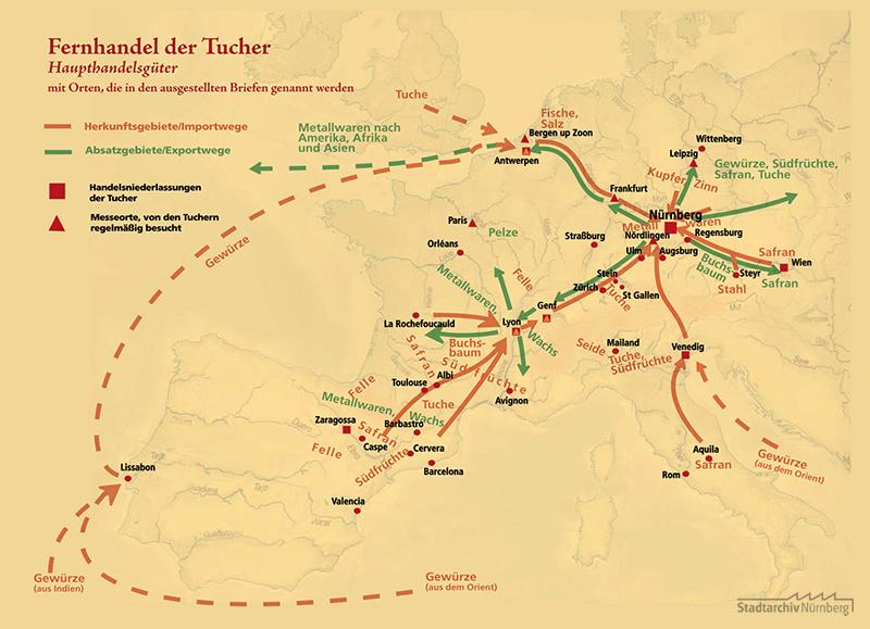 Karte zum Fernhandel der Tucherschen Handelsgesellschaft, erarbeitet aus Orten, die in der Briefüberlieferung Antons II. und Linharts II. Tucher genannt sind. Erstellt nach Vorgaben von Dr. Horst-Dieter Beyerstedt und Dr. Michael Diefenbacher von Christoph Valentin, Stuttgart 2008.