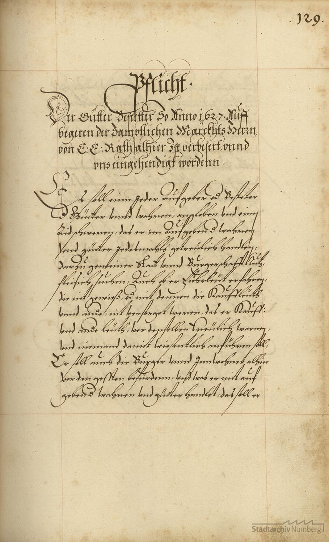 Ordnung der Nürnberger Güterbestätter, 1627