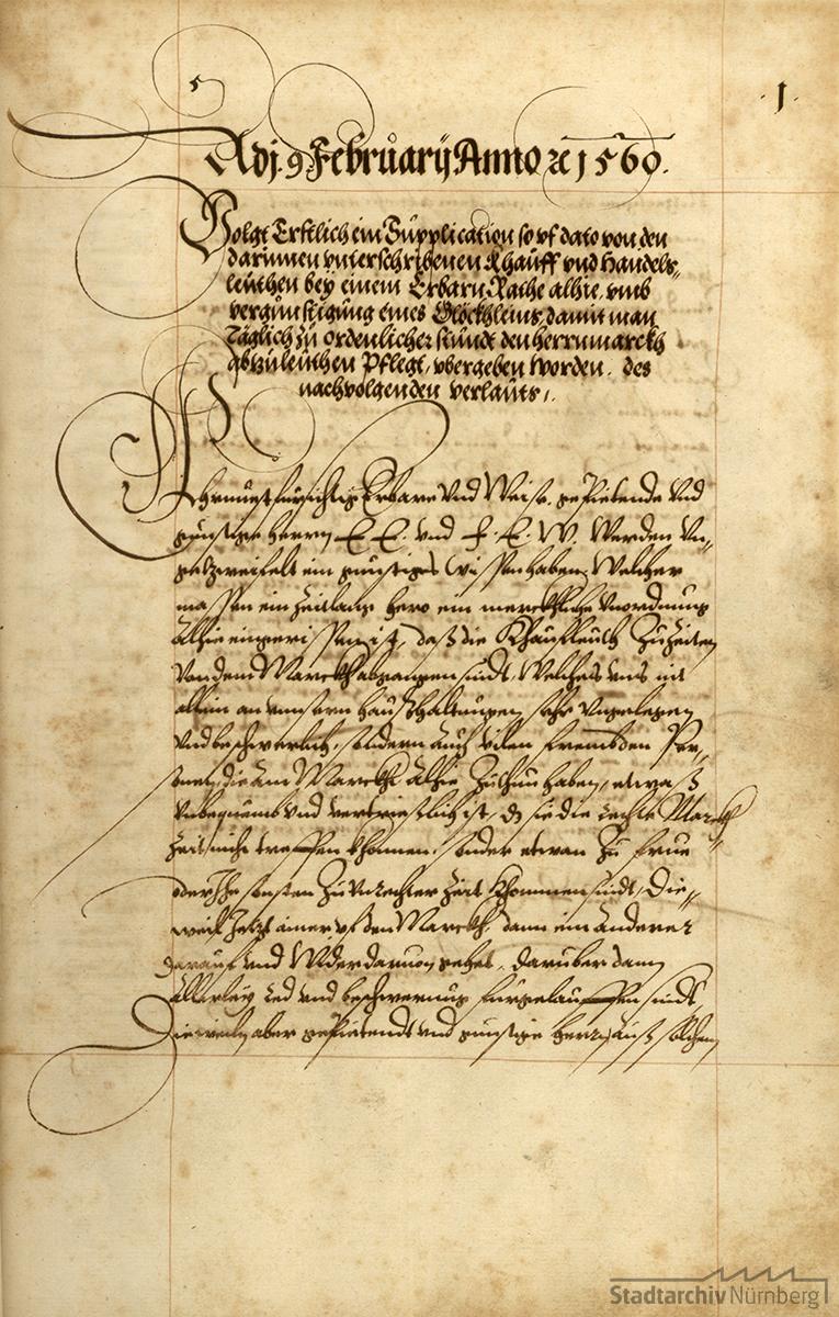 Petition von 61 Großkaufleuten vom 9. Februar 1560 um bessere Organisation des Marktgeschehens in Nürnberg
