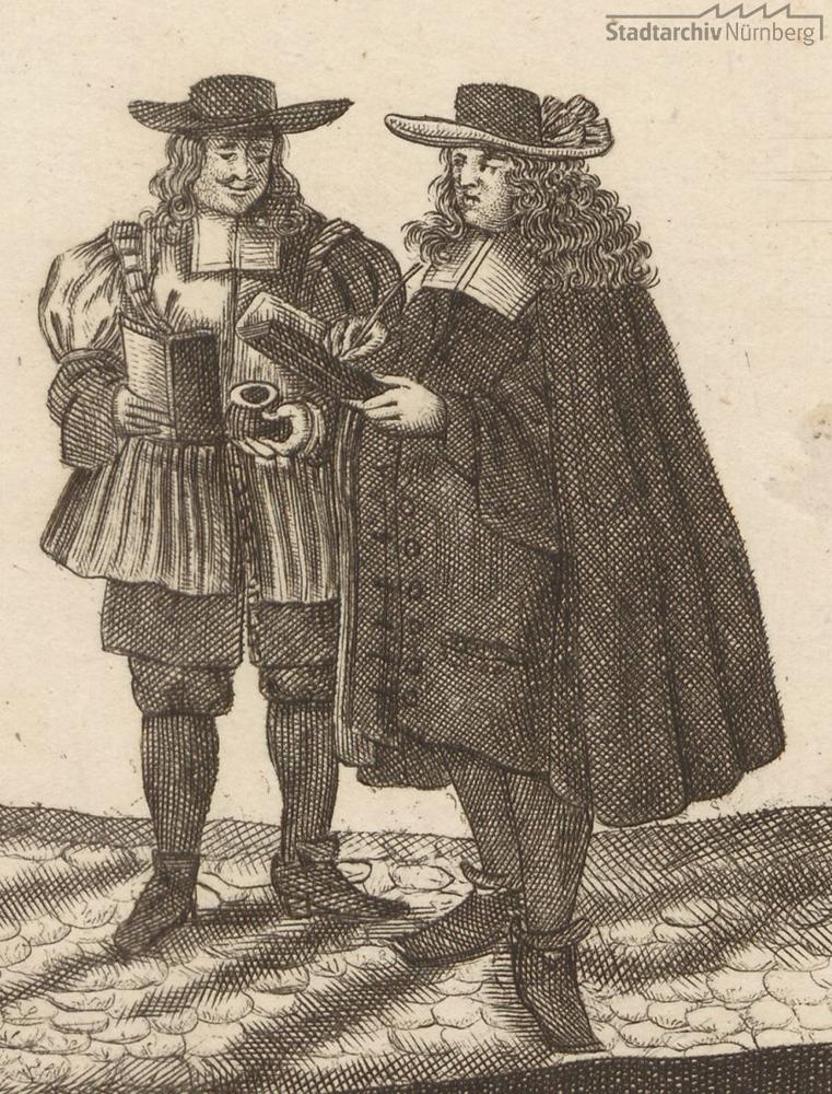 Ein Nürnberger Stadtknecht (links) mit einem Bürgerschreiber (rechts)