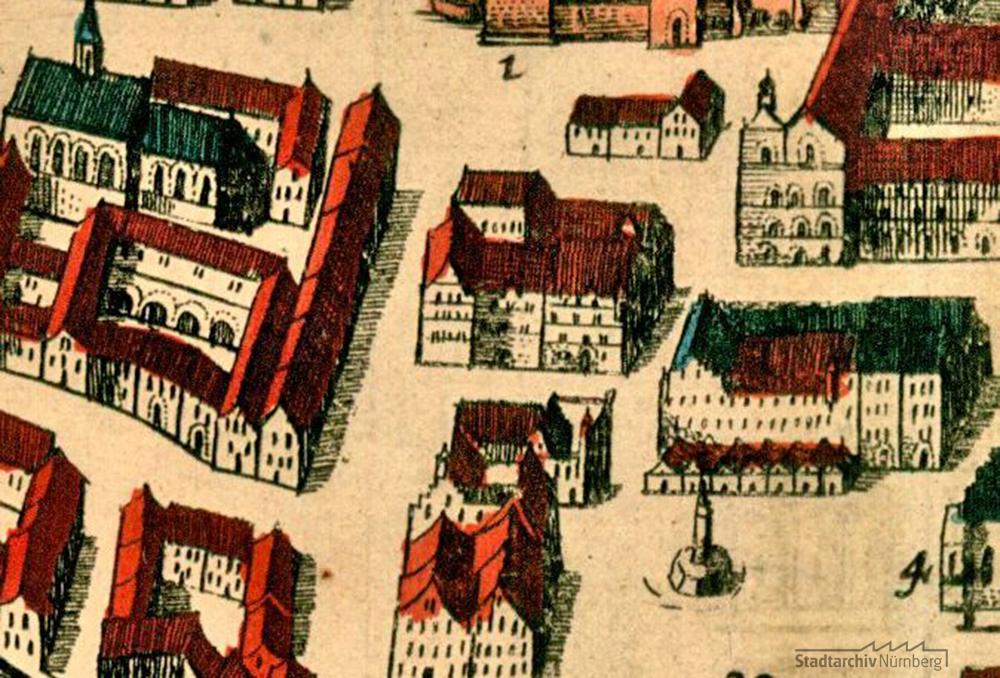 """Nürnberg aus der Vogelschau. Prospekt """"Norinberga Vulgo Nurmberg"""" von Frederik de Wit und Wenzel Hollar, Ausschnitt"""