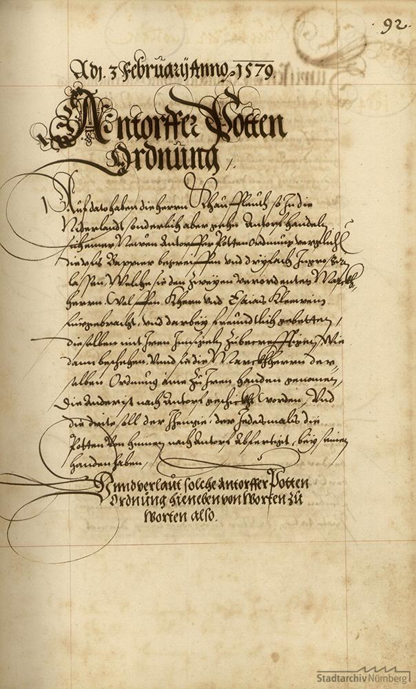 Die Antwerpener Botenordnung vom 3. Februar 1579