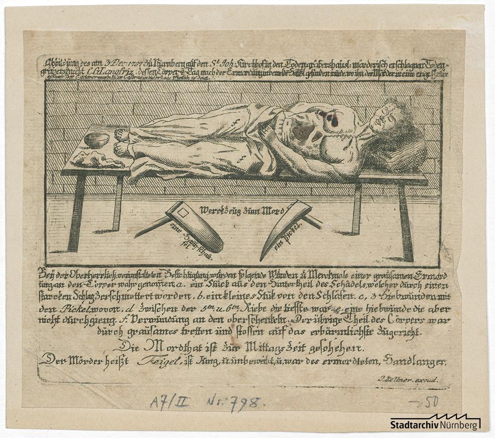 Flugblatt zum Mord an dem Totengräbersknecht