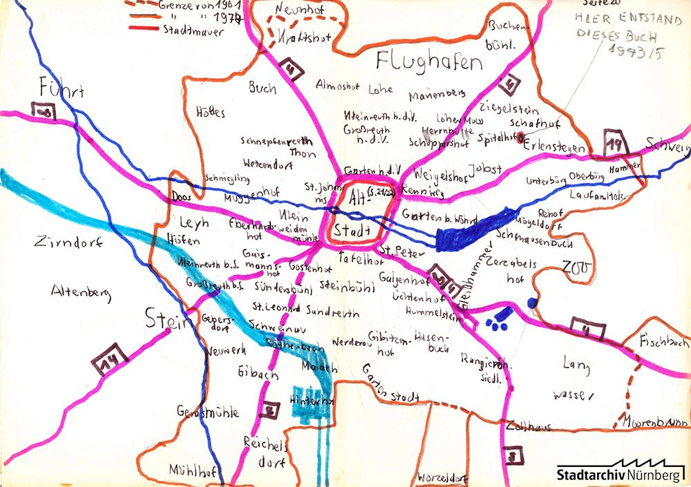 Stadtplan Nürnberg, 1973/1974