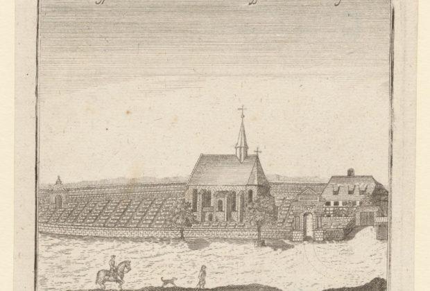 Blick von Süden auf den Rochusfriedhof mit der Imhoffkapelle und dem Hofmeisterhaus.