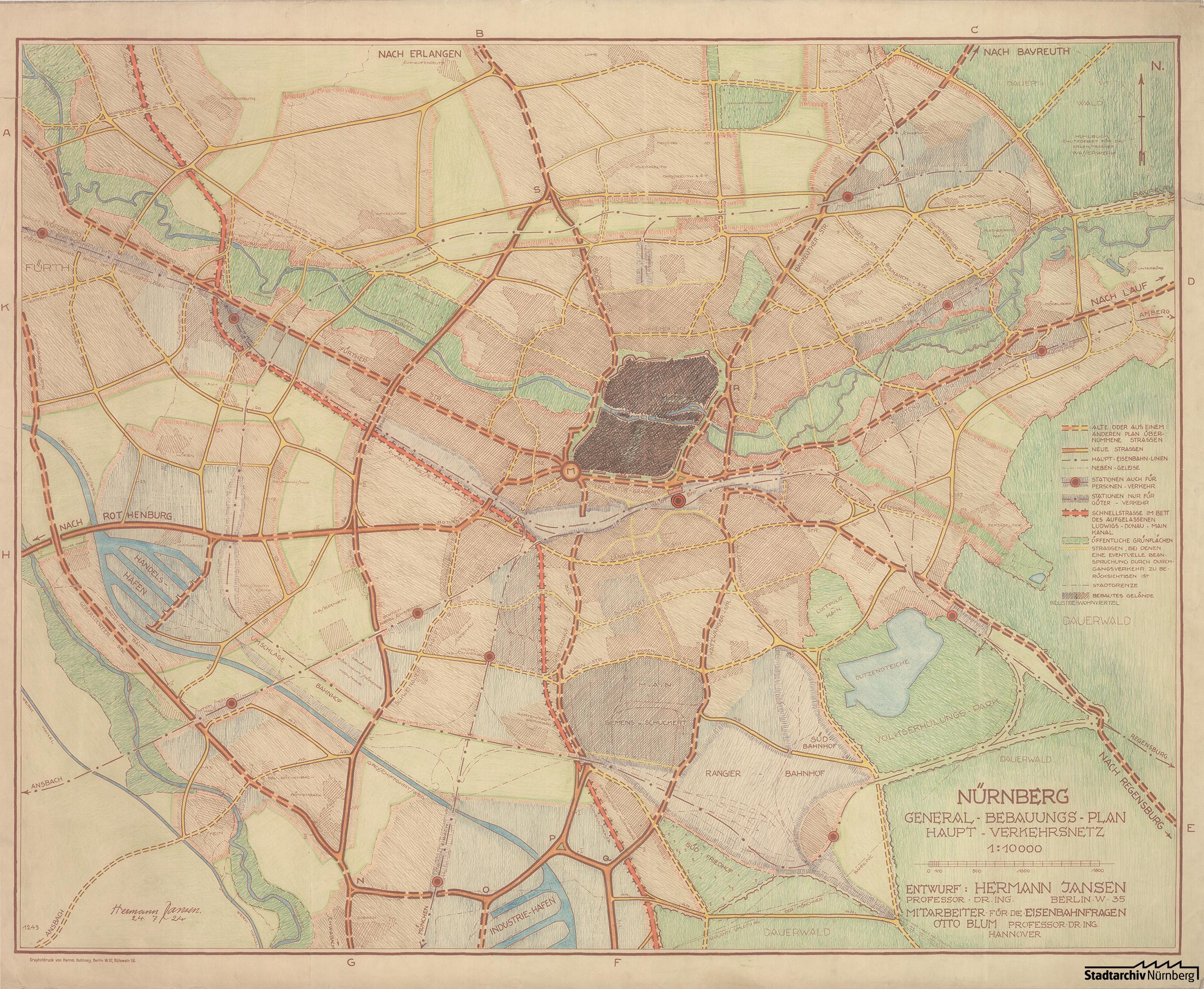 Generalbebauungsplan Jansen mit Verkehrswegenetz