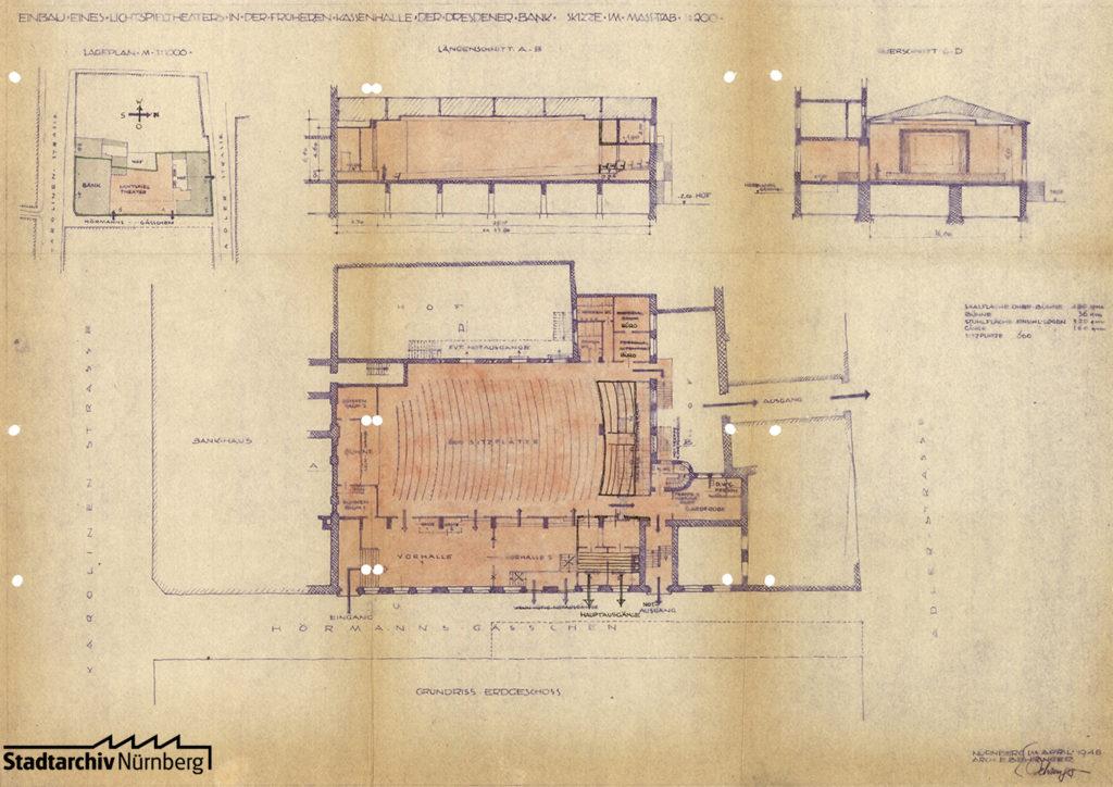 """Plan für den Einbau eines Lichtspieltheaters in die durch Kriegseinwirkung beschädigte Kassenhalle der Dresdener Bank im Hörmannsgäßchen 4 und 6 unter dem Namen """"Die Kurbel"""""""