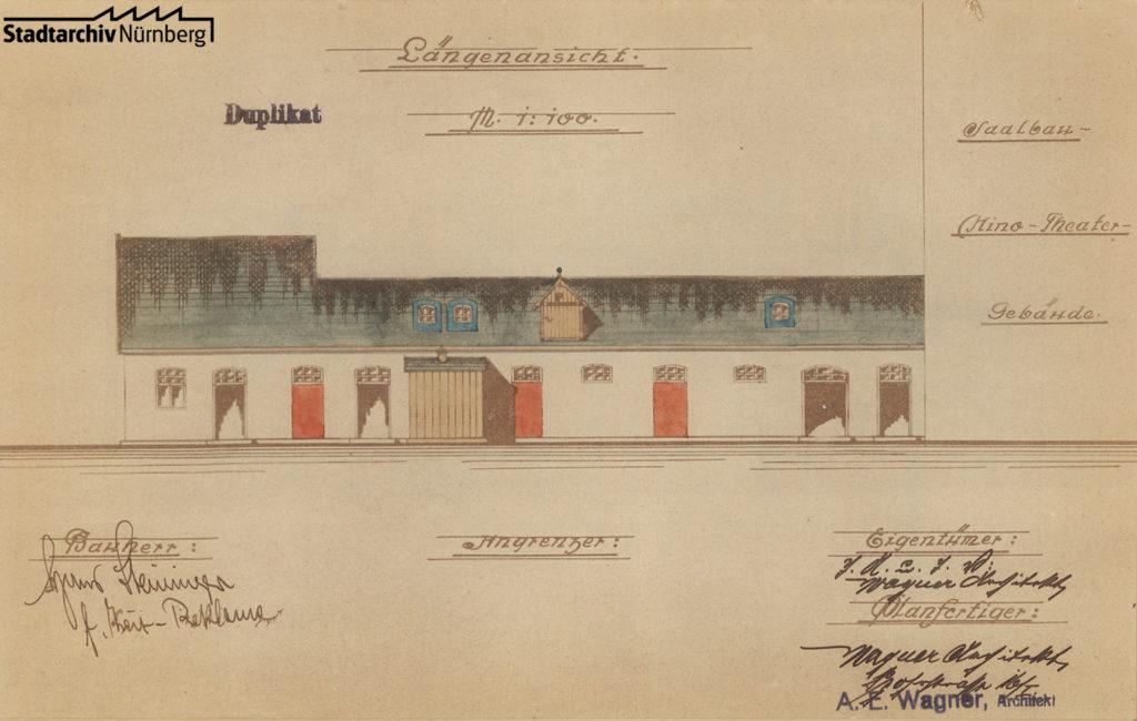Plan des Kinos aus dem Bauakt Schmausenbuckstraße 14