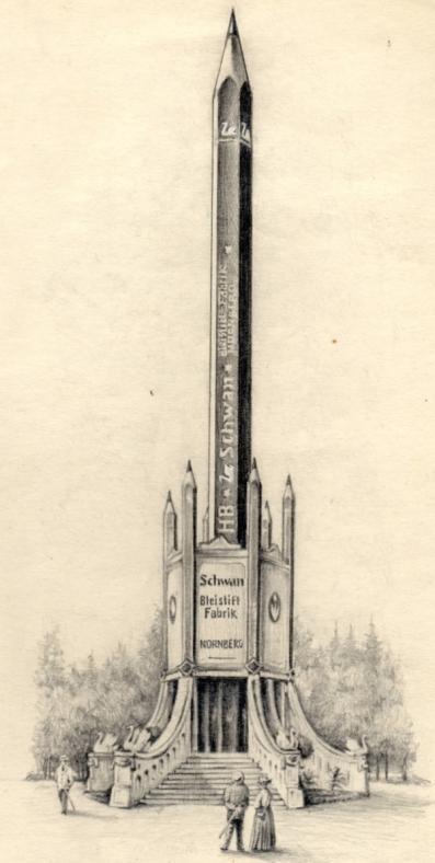 Bleistiftzeichnung vom Riesenbleistift, 1928