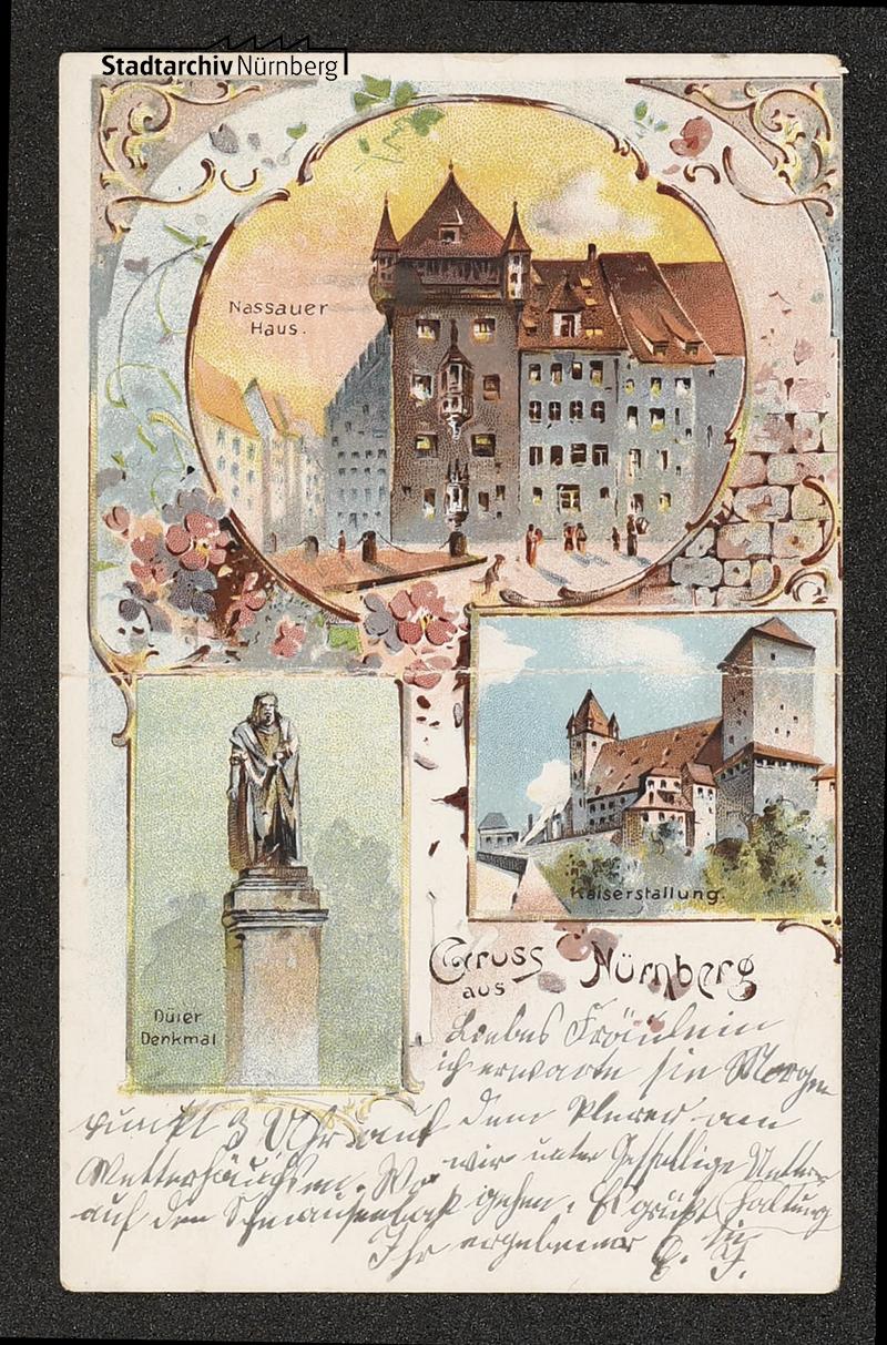 Vorderseite einer farbigen Postkarte, frankiert mit der Stadtpostmarke von Nürnberg mit Ortsporto 1 ½ Pf