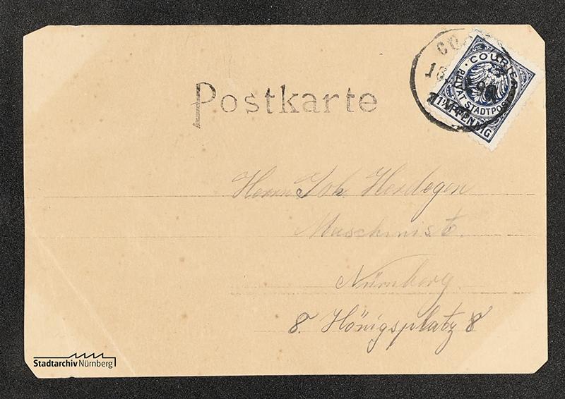 Rückseite einer Postkarte vom Russischen Hof in der Fürther Str., verwendet im Oktober 1899