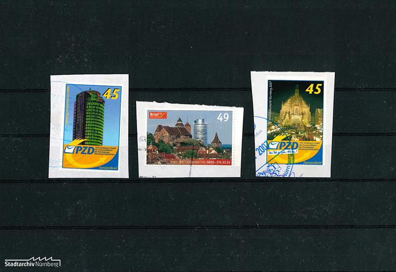 3 moderne Briefmarken zweier Nürnberger Firmen-Privatposten aus der Zeit um 2007