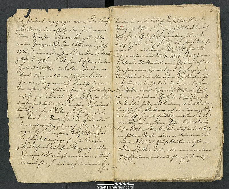Auszug aus dem Tagebuch von Johann Philipp Rösler (Stadtarchiv Nürnberg E 10/207 Nr. 1)